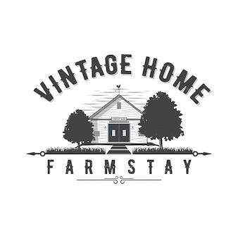 Vintage-startseite logo-design