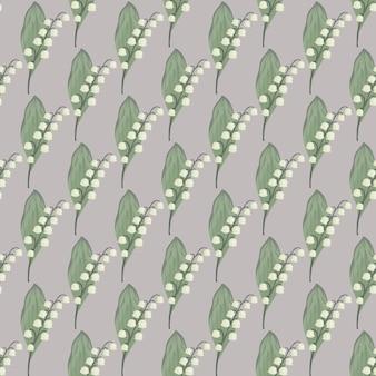 Vintage-stil floral nahtlose muster mit grünen und weißen maiglöckchen ornament
