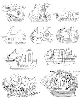 Vintage-stil jahrestag zeichen und symbole