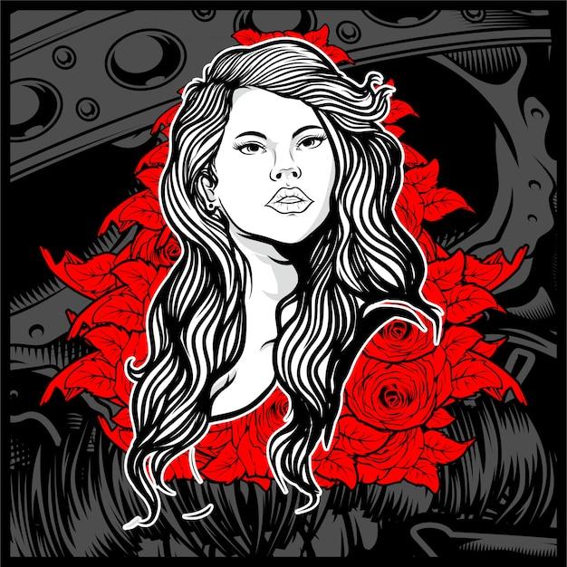 Vintage-stil junge dame mit rosen -