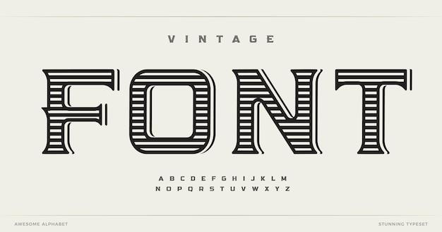 Vintage-stil schriftart alphabet buchstaben westlichen logo typografie handgefertigtes typografisches design alt