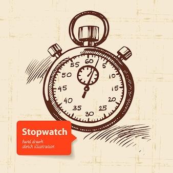 Vintage stoppuhr. handgezeichnete abbildung