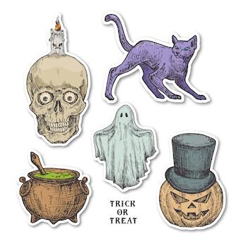 Vintage style halloween aufkleber set. hand gezeichnete kürbis, geist, katze, kessel und schädel mit kerze skizze symbole sammlung. retro typografie. weiche schatten.