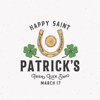 Vintage style saint patricks day logo oder etikett