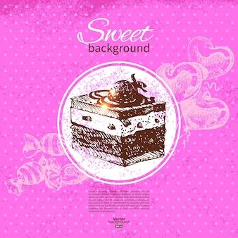 Vintage süßer hintergrund. handgezeichnete abbildung. speisekarte für restaurant und café