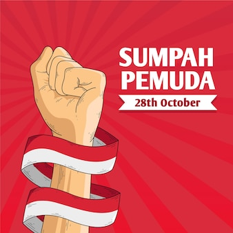 Vintage sumpah pemuda illustration