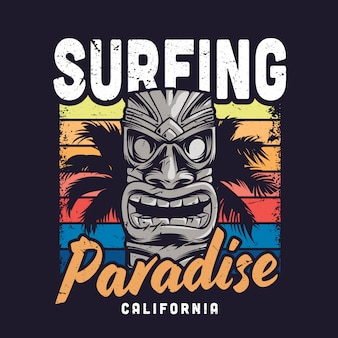 Vintage surfing paradise illusion