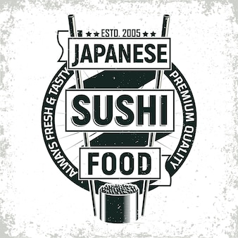 Vintage sushi bar logo design