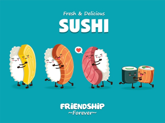 Vintage sushi-poster-design mit vektor-sushi-zeichensatz