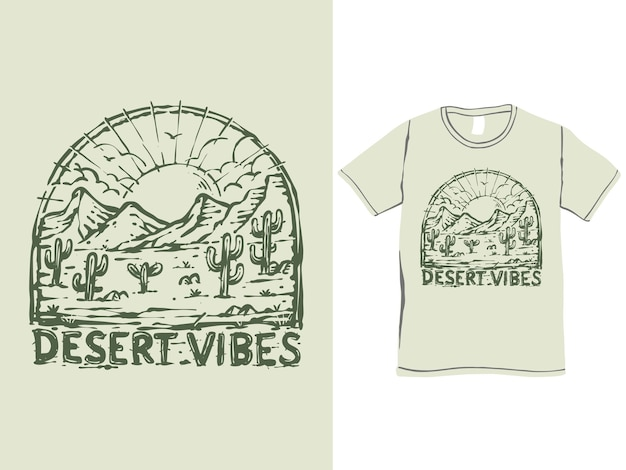 Vintage-t-shirt-design in wüstenstimmung