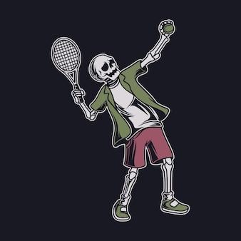 Vintage t-shirt design schädel in der aufschlagposition tennis illustration