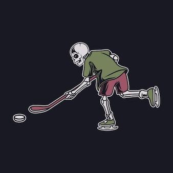 Vintage-t-shirt-design-schädel in einer dribbling-position und ist bereit, den ball in die tor-hockey-illustration zu schlagen