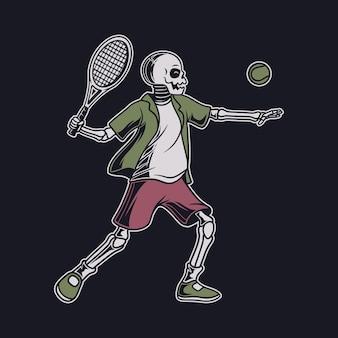 Vintage-t-shirt-design-schädel mit der position, den ball von der gegnerischen tennisillustration zu schlagen