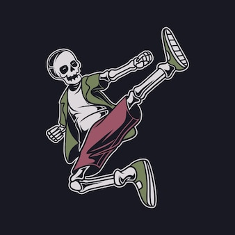 Vintage t-shirt design schädel schwebt in einer kickposition karate illustration