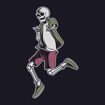 Vintage t-shirt design schädel tanzen und springen glückliche illustration