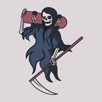 Vintage-t-shirt-design sensenmann, der ein skateboard auf seinen schultern trägt illustration