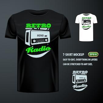 Vintage t-shirt mit stilvollen retro radio. editierbare attrappe