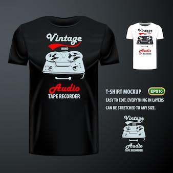 Vintage t-shirt mit stylischem audio tonbandgerät. editierbare attrappe
