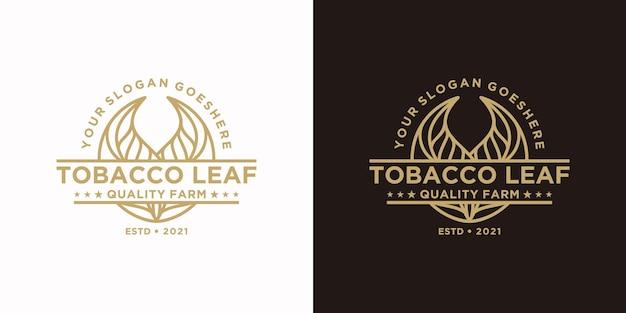 Vintage tabakblatt-logo, logo-referenz für tabakfarm