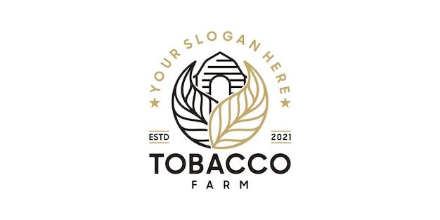 Vintage-tabakfarm-logo mit strichzeichnungen, logo-referenz