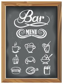 Vintage tafel mit bar-menü und essen-icons