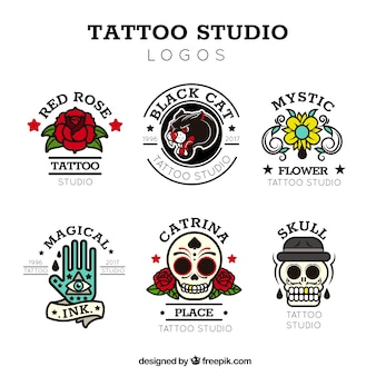 Vintage tattoo-logo-kollektion