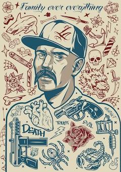 Vintage tattoo-poster mit schnurrbärtigen latino-mann in baseballmütze