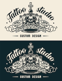 Vintage tattoo studio label