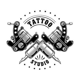 Vintage tattoo studio logo vektor-illustration. monochrom gekreuzte ausrüstung für profis