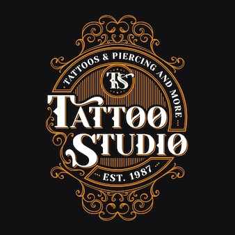Vintage tattoo-studio-logo-vorlage