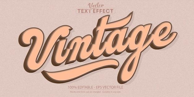 Vintage-text minimalistischer bearbeitbarer texteffekt im retro-stil