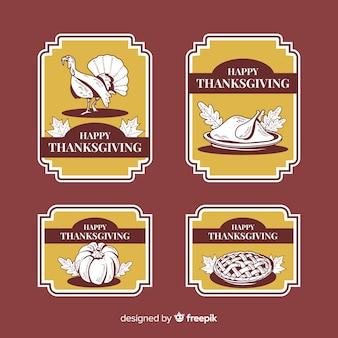 Vintage thanksgiving-label-auflistung