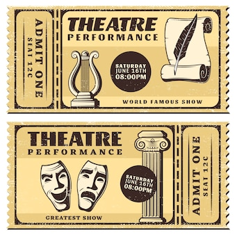 Vintage theater performance horizontal tickets