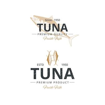 Vintage thunfisch-logo-vorlage für restaurant