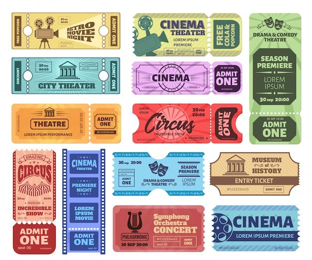Vintage tickets. lassen sie eine eintrittskarte für die zirkusshow, den eintrittsgutschein für den kinofilmabend und die theaterkarten zu. sammlung von bunten retro-gutscheinen. musikkonzert einladung, museumspass