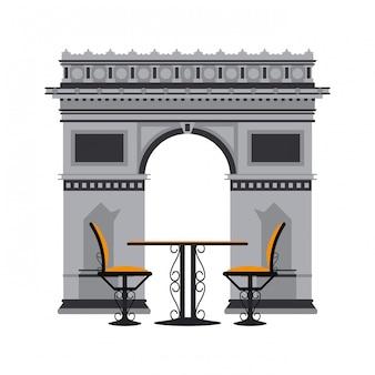 Vintage tisch und stühle über triumphbogen