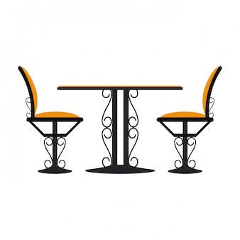 Vintage tisch und stühle