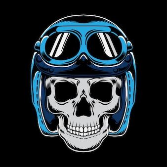 Vintage totenkopf motorrad in moto helm