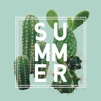 Vintage tropical summer cactus graphic design für t-shirt, mode, drucke in
