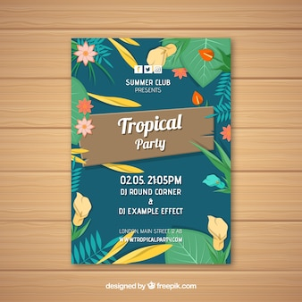 Vintage tropische partybroschüre mit blumen