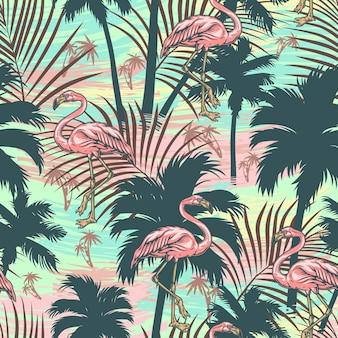 Vintage tropisches buntes nahtloses muster mit rosa flamingo-palmen-silhouetten und exotischen blättern