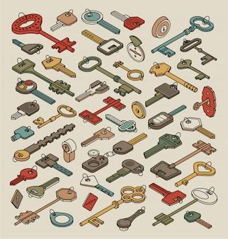 Vintage umrissschlüssel und schloss sammlung isoliert. alte isometrische schlüssel für türen und autos