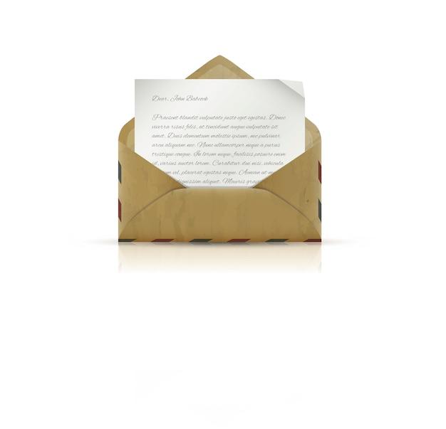 Vintage umschlag mit papier und text