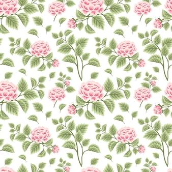 Vintage und klassisches nahtloses blumenmuster aus rosa pfingstrosenblüten mit blattzweigarrangements