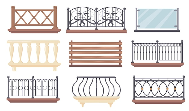 Vintage und moderne balkongeländer illustrationen set