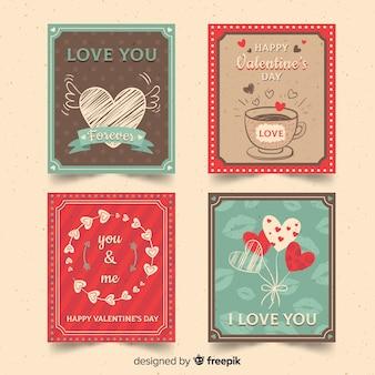 Vintage valentine-kartensammlung