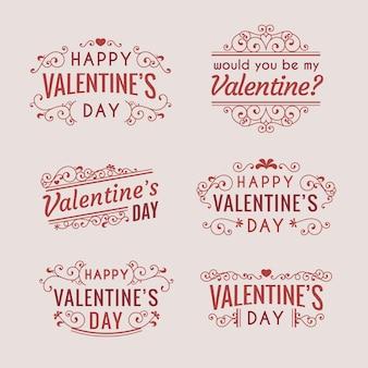 Vintage valentinstag abzeichen gesetzt