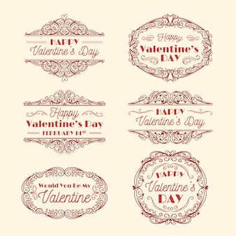 Vintage valentinstag abzeichen sammlung