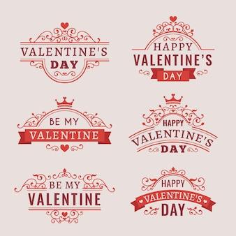 Vintage valentinstag abzeichen