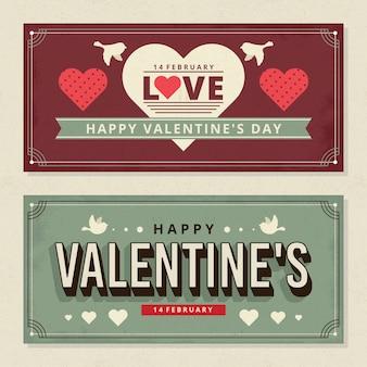 Vintage valentinstag banner